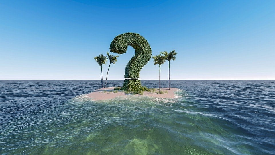 an island with a question mark